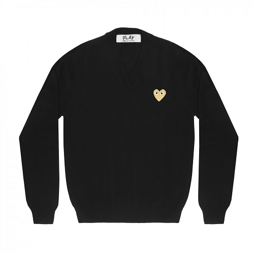 Play-Gold-Heart-V-Neck-Sweater-Bk