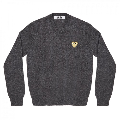 Play-Gold-Heart-V-Neck-Sweater-Gray