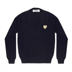 Play-Gold-Heart-V-Neck-Sweater-Navy