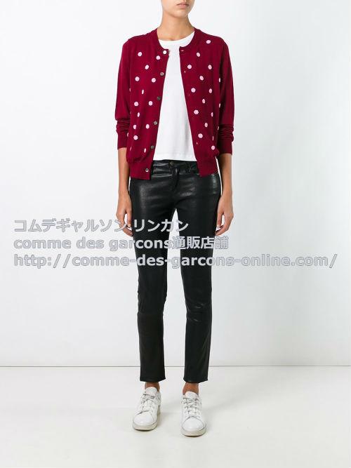 cdg-girl-beaded-polka-dot-cardigan-red