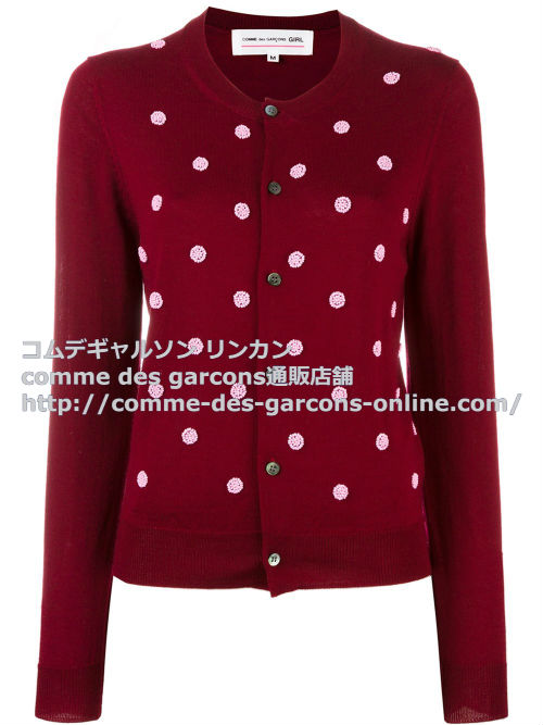 cdg-girl-beaded-polka-dot-cardigan-red