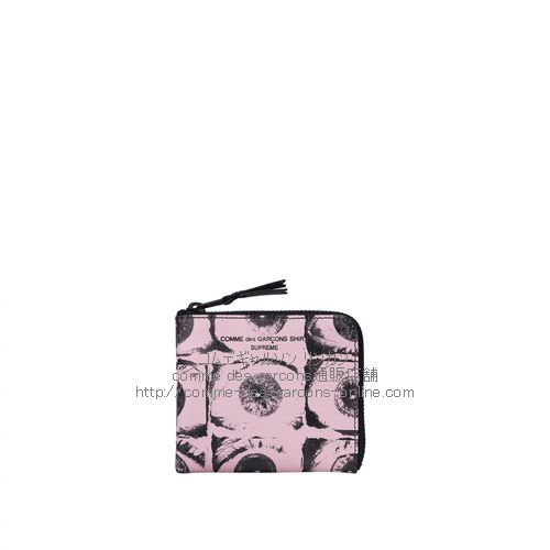 cdg-supreme-eyes-Wallet-pink