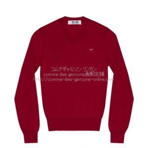 play-little-red-heart-cotton-v-sweater-red