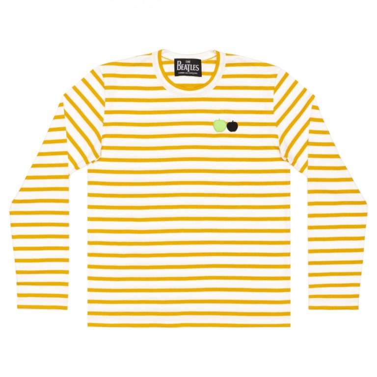 beatles-cdg-stripe-long-tee-yellow
