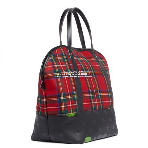 beatles-cdg-check-bostonbag-red