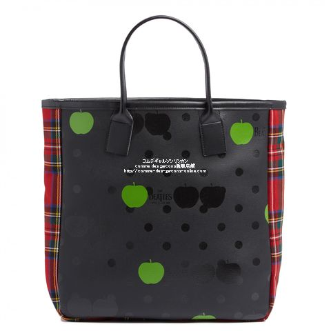 beatles-cdg-check-tote-red